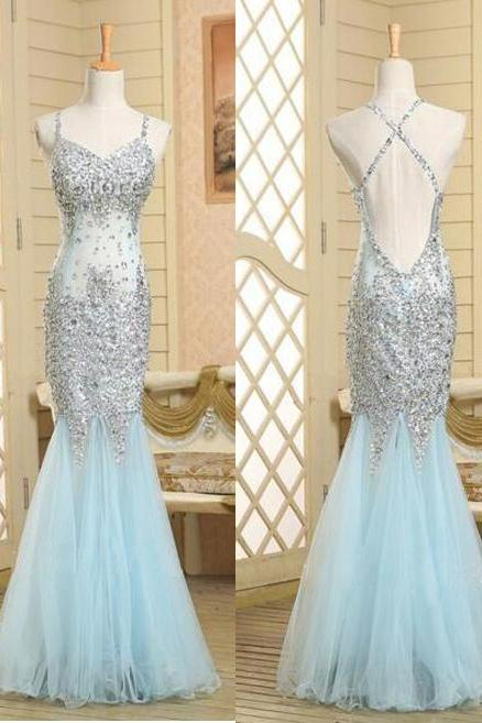 Backless Prom Gown,Open Back Prom Dresses,Light Sky Blue Evening Gowns,Beaded Party Dresses,Mermaid Evening Gowns,Sexy Formal Dress For Teens