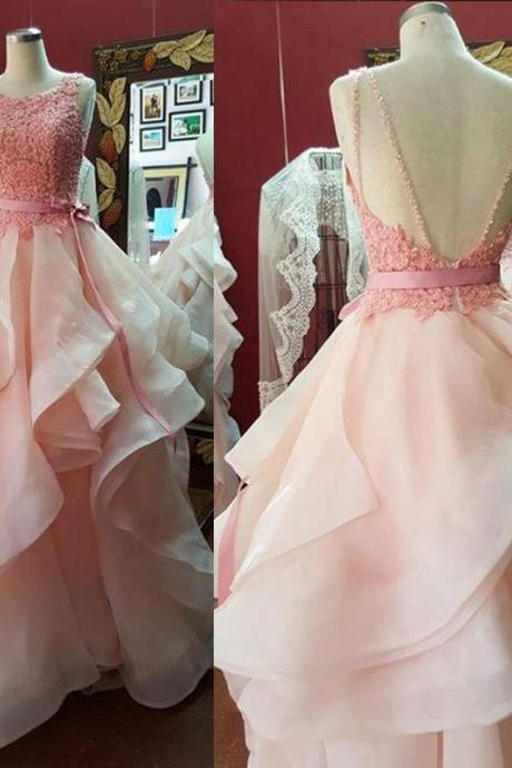 Prom Dresses,Princess Prom Dress,Ball Gown Prom Gown,Pink Prom Gown,Elegant Evening Dress,Evening Gowns, Party Gowns With Lace