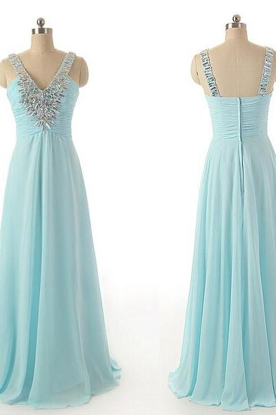 Prom Gown,Blue Prom Dresses,Elegant Evening Dresses,Long Formal Gowns,Beaded Party Dresses,Chiffon Pageant Formal Dress