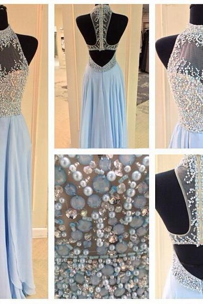 Backless Prom Dresses,Light Blue Prom Dress,Open Backs Prom Gown,Open Back Prom Dresses,Chiffion Evening Gowns, Open Backs Evening Gown