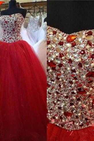 Red Prom Dress,Ball Gown Prom Dress,Princess Prom Gown,Beaded Prom Dresses,Sexy Evening Gowns, New Fashion Evening Gown,Sexy Graduation Dress For Teens