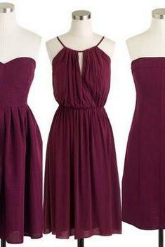 Custom Made Burgundy Chiffon Mismatched Bridesmaid Dress