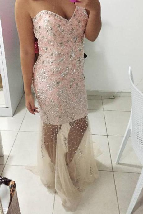 Tulle Prom Dresses,Princess Prom Dress,Prom Gown,Pink Prom Gown,Elegant Evening Dress,Tulle Evening Gowns,2016 Party Gowns With Beadings