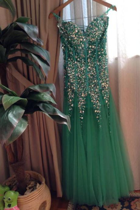 Green Prom Gown,Sexy Prom Dresses,Evening Gowns,Mermaid Party Dresses,Tulle Evening Gowns,Modest Formal Dress,Evening Gown For Teens