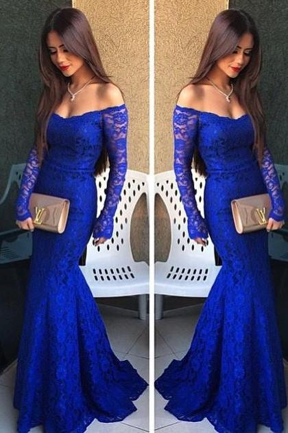 Royal Blue Prom Dresses,Lace Evening Dress,Sexy Prom Dress,Prom Dresses With Long Sleeves,Charming Prom Gown,Mermaid Fashion Evening Gowns for Teens