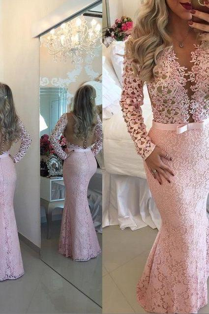 Lace Prom Dresses,Pink Prom Dress,Modest Prom Gown,A Line Prom Gown,Lace Evening Dress,Evening Gowns,New Fashion Party Gowns
