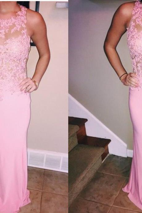 2016 Prom Dresses,Pink Evening Gowns,Lace Formal Dresses,Prom Dresses,2016 Fashion Evening Gown,Beautiful Evening Dress,Pink Formal Dress,Lace Prom Gowns