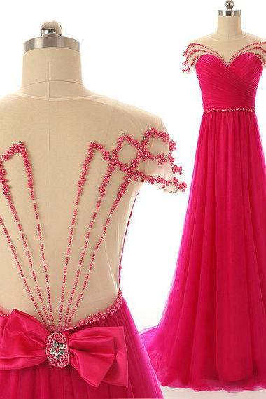 Hot Pink Prom Dresses,Backless Evening Gown,Sexy Formal Dress,Beaded Prom Dresses,2016 Fashion Evening Gown,Open Backs Evening Dress,2016 Style Prom Gowns