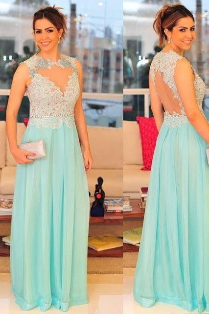 Mint Green Prom Dresses,Evening Dresses,New Fashion Prom Gowns,Elegant Prom Dress,Lace Prom Dresses,Chiffon Evening Gowns,Formal Dress