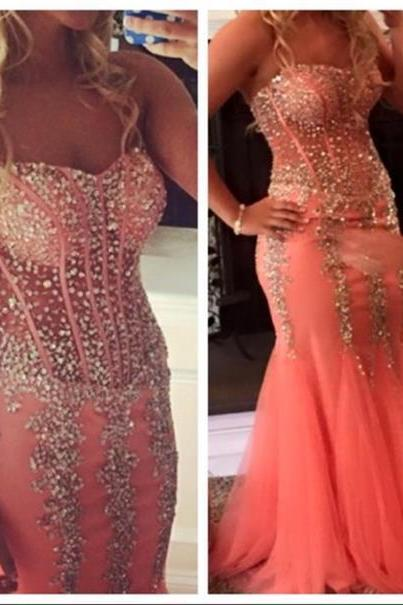 Prom Gown,Pink Prom Dresses,Sparkle Evening Gowns,Mermaid Formal Dresses,Pink Prom Dresses 2016,Tulle Evening Gowns,Backless Prom Gown
