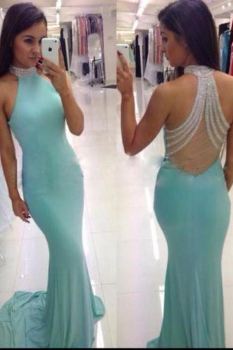 Mint Green Prom Dresses,Backless Evening Gowns,Sexy Formal Dresses,Beaded Prom Dresses,Fashion Evening Gown,Open Backs Evening Dress