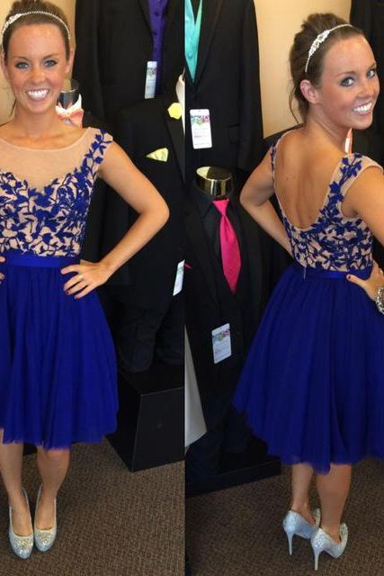 chiffon Homecoming Dress,Lace Homecoming Dress,Royal Blue Homecoming Dress,Fitted Homecoming Dress,Short Prom Dress,Homecoming Gowns,Cute Sweet 16 Dress For Teens