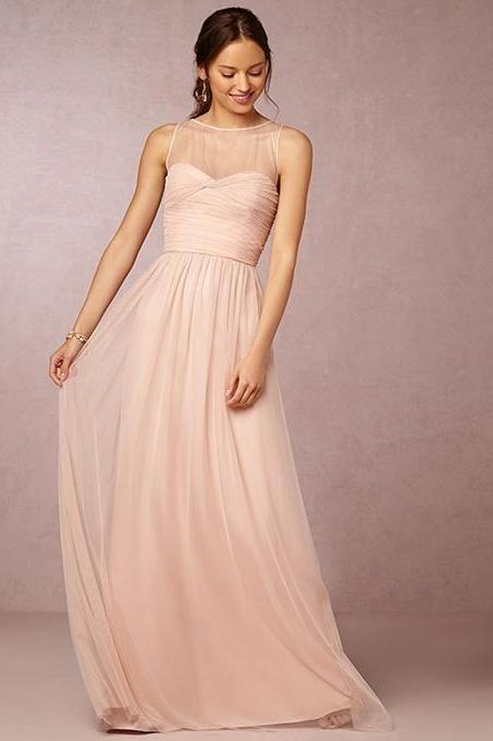 Blush Pink Bridesmaid Gown,Prom Dresses,Chiffon Prom Gown,Simple Bridesmaid Dress,Cheap Bridesmaid Dresses,Fall Wedding Gowns,Bridesmaid Gown