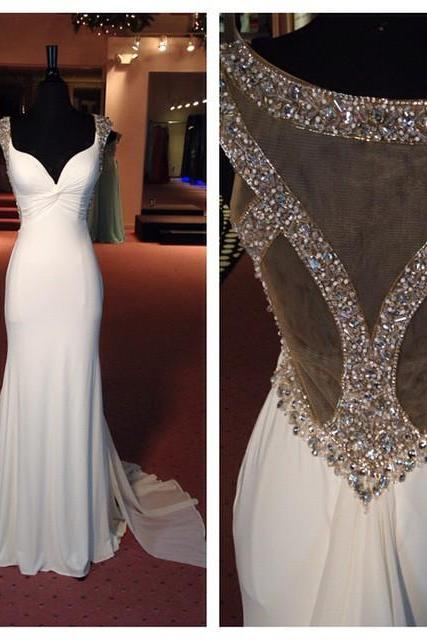 Backless Prom Dresses,White Prom Dress,Open Back Formal Gown,Open Backs Prom Dresses,Sexy Evening Gowns,Chiffon Formal Gown For Teens