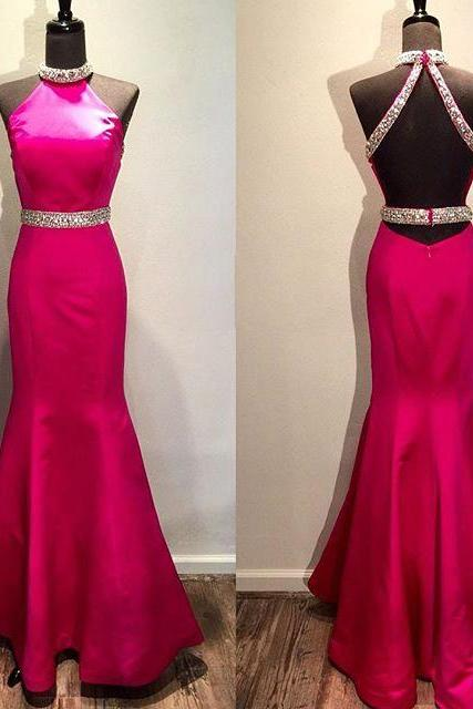 Pink Backless Prom Dresses,Open Back Prom Gowns, Pink Prom Dresses, Party Dresses 2016,Long Prom Gown,Open Backs Prom Dress,Sparkle Evening Gown,Sparkly Party Gowbs
