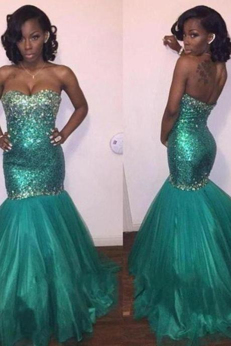 Tulle Prom Dress,Mermaid Prom Dress,Unique Prom Gown,Sweetheart Prom Dresses,Sexy Evening Gowns,Sequins Evening Gown,2016 Party Dress,Modest Formal Gowns For Teens
