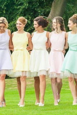Custom Made Pastel Colour Knee Length A-Line Mismatched Bridesmaid Dress