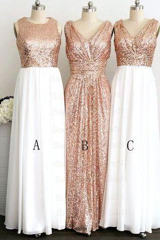 Long Bridesmaid Dress,Sequin Bridesmaid Dress,Custom Made Bridesmaid Dress,A-Line Bridesmaid Dress,Elegant Bridesmaid Dress