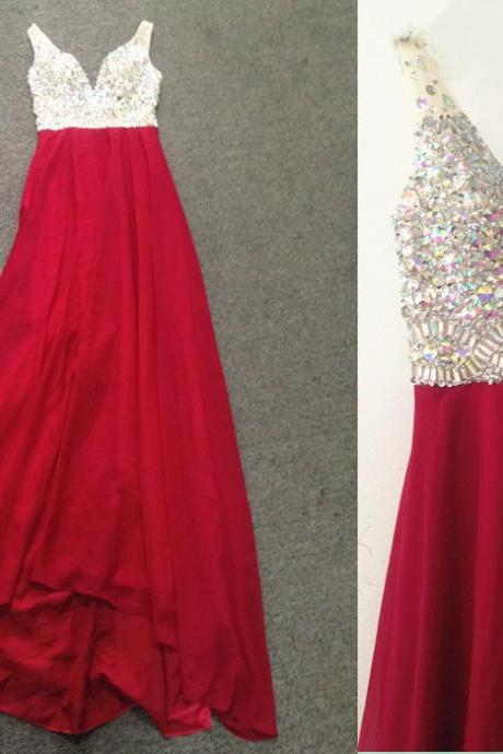 Prom Dress,Prom Dresses,A-line Prom Dresses,Chiffon Formal Gowns,Chiffon Prom Dresses Long, Prom Dress Long,Red Prom Dresses