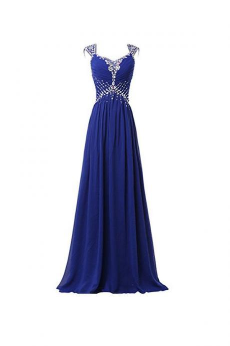 Prom Dresses,Evening Dress,Beautiful Chiffon V-neck Long Prom Gowns, Party Dresses