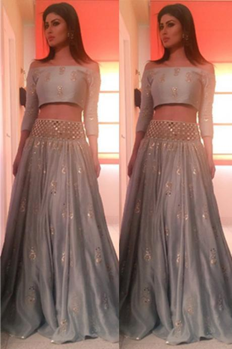 Prom Dresses,Evening Dress,3/4 Sleeves Two Pieces Prom Dresses,Beading A-line Prom Dress For Teens,Beautiful Silver Grey Evening Dresses,Party Prom Dresses