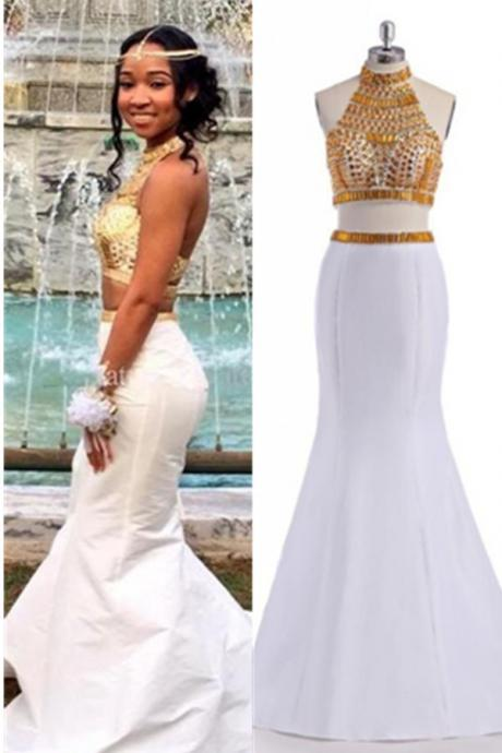 Prom Dresses,Evening Dress,White Prom Dresses,Mermaid Prom Dress,Two Pieces Prom Gowns,Beading Evening Gowns,Open Back Party Prom Dresses