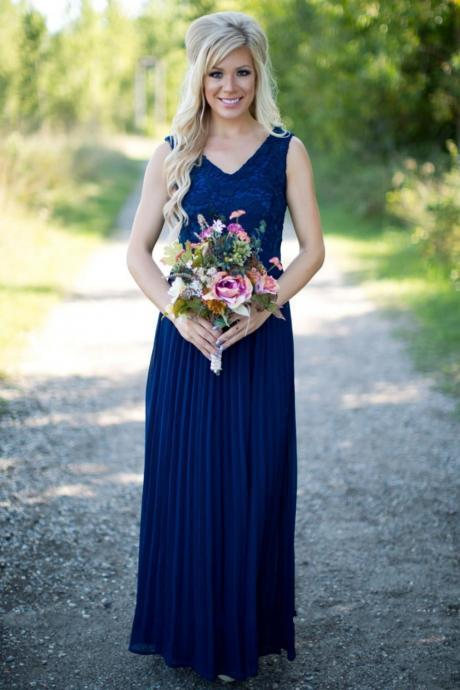 Blue Bridesmaid Dresses,A-line Bridesmaid Dress,V-neck bridesmaid dress,Custom bridesmaid dress, Wedding Party Dresses,Long Bridesmaid Dress,Bridesmaid Dresses,Bridal Gowns