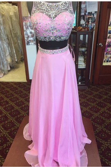Prom Dresses,Evening Dress,Prom Dress ,Beaded Chiffon Prom Dress, A-line Evening Dresses, Two Pieces Prom Dress,Pink Chiffon Prom Dresses,Two Pieces Party Dresses,Prom Dresses