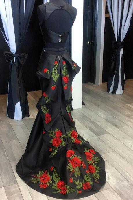 Prom Dresses,Evening Dress,New Arrival Prom Dress,Modest Prom Dress,black evening dress,mermaid prom dresses,two piece prom dresses,backless prom dress,prom dress 2017,embroidery dresses