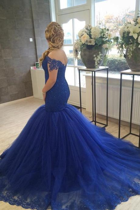 Prom Dresses,Evening Dress,New Arrival Prom Dress,Modest Prom Dress,royal blue prom dresses,lace prom dresses,mermaid evening dresses,long formal gowns,prom dresses 2017