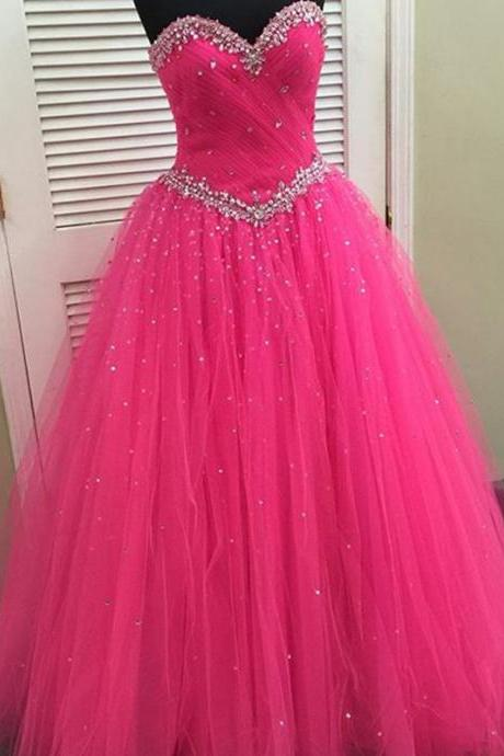 Prom Dresses,Evening Dress,New Arrival Prom Dress,Modest Prom Dress,pink organza ball gowns quinceanera dresses with crystal beaded sweetheart 2017 new design