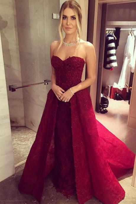 Prom Dresses,Evening Dress,New Arrival Prom Dress,Modest Prom Dress,lace sweetheart long burgundy evening gowns 2017 prom dress detachable skirts