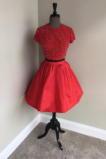 Prom Dresses,Evening Dress,two piece homecoming dresses,short sleeves prom dress,beaded cocktail dress,red homecoming dresses,sparkly dress,short prom dress 2017