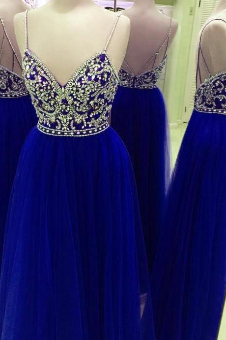 Prom Dresses,Evening Dress,New Arrival Prom Dress,Modest Prom Dress,Fully Crystal Beaded Top V Neck Long Prom Dresses 2017 Tulle Evening Gowns