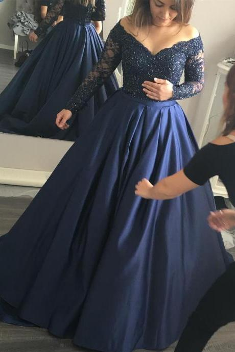Prom Dresses,Evening Dress,New Arrival Prom Dress,Modest Prom Dress,Long Sleeves Navy Blue Ball Gowns Prom Dresses Lace Appliques Evening Gowns 2017