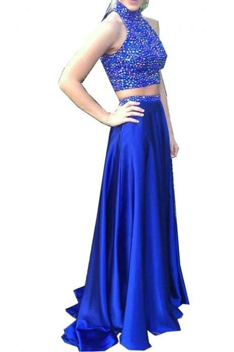 Prom Dresses,Evening Dress,Royal Blue Prom Dresses,2 Piece Prom Gown,Two Piece Prom Dresses,Satin Prom Dresses,New Style Prom Gown
