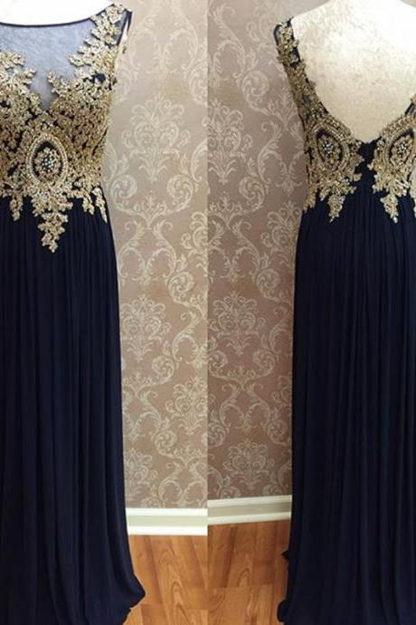 Prom Dresses,Evening Dress,chiffon prom dress,open back prom dress,gold lace appliques prom dress,long evening dress,formal gowns,bridesmaid dress,prom dress