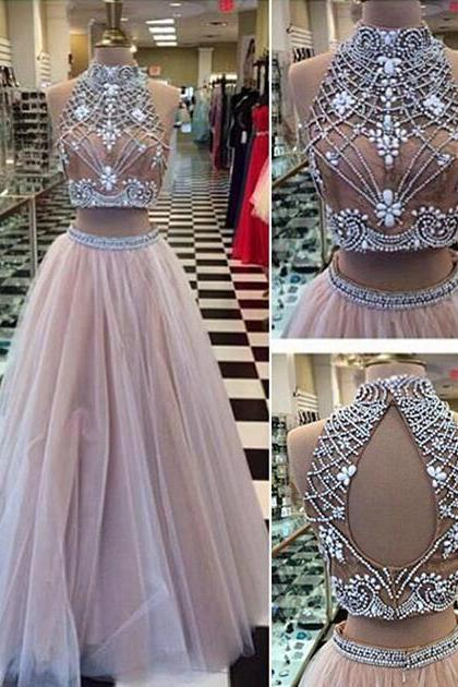 Prom Dresses,Evening Dress,Gorgeous Two Pieces Prom Dresses,Sexy tulle Prom Dresses,Lace Prom Dresses,Long Prom Dresses,Dresses for Prom,Long Prom Dresses