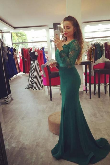 81518205141193 Dark Green Off The Shoulder Mermaid Prom Gown,Charming Prom Dresses,Long  Prom Dress