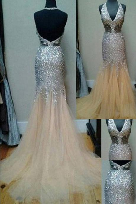 Prom Dresses,Evening Dress,New Arrival Prom Dress,Modest Prom Dress,Charming Prom Dress,Beading Prom Dress,Halter Prom Dress,Mermaid Evening Dress