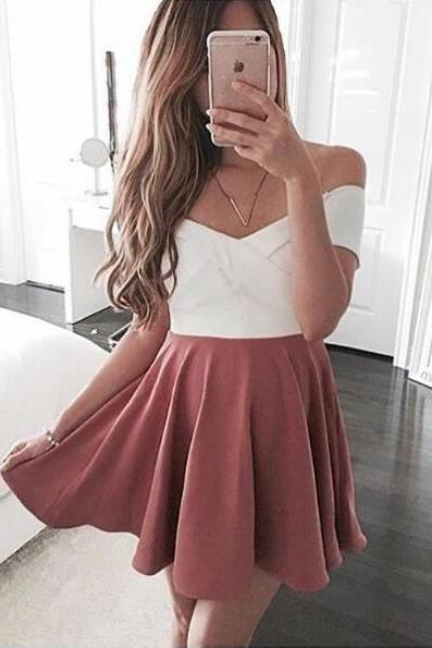 Prom Dresses,Evening Dress,cute party dress,sundress for women ,pink homecoming dress,off the shoulder short prom dress,mini dress