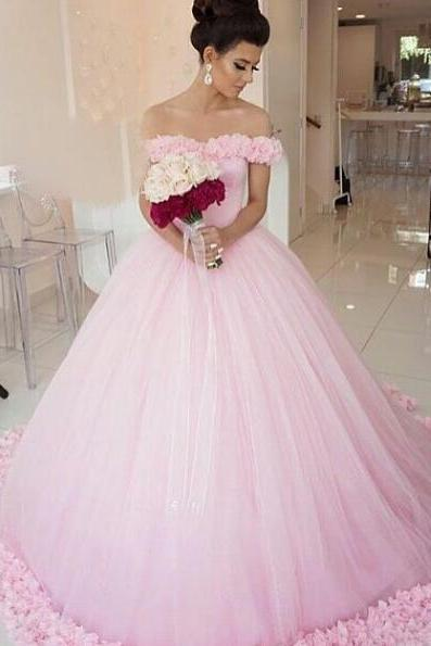 Wedding Dresses,Pink Wedding Dress,Simple Wedding Dress,Off the Shoulder Bridal Gowns,Women Ball Gowns,Wedding Dress with Flowers
