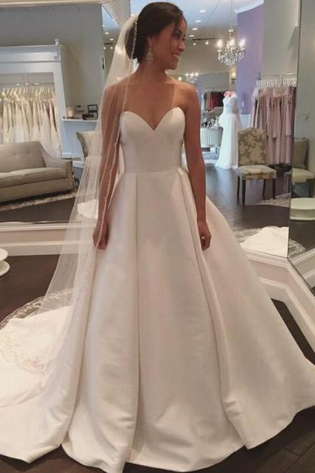 Prom Dresses,Evening Dress,Wedding Dresses, Wedding Gown,White Sweetheart Satin Wedding Dress Simple and Claasic Formal Gowns Women Party Dresses