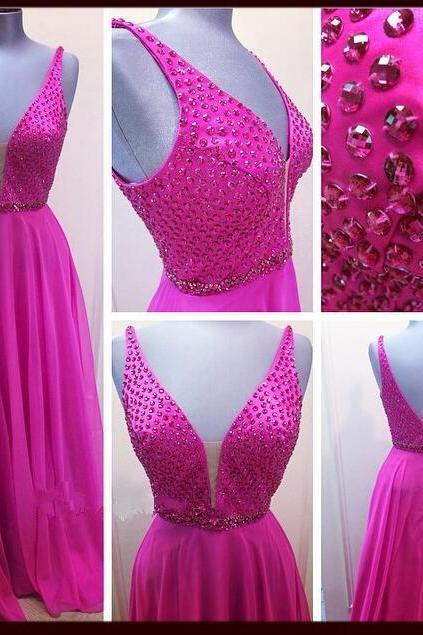 Prom Dresses,Evening Dress,New Arrival Prom Dress,Modest Prom Dress,Fuchsia Plunging V Neck Chiffon Formal Gown With Beaded Bodice with V Back