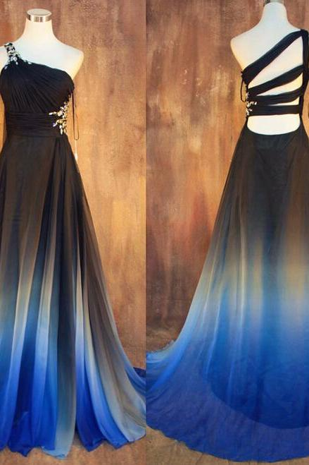 Prom Dresses,Evening Dress,New Gradient Ombre Chiffon Prom Dresses Sexy Backless Beading Evening Dress One Shoulder Pleats Women Dress