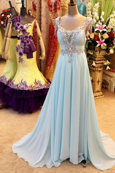 Prom Dresses,Evening Dress,A-Line Backless Blue Evening Dresses V-Neck Crystal Beading Blingbling Prom Gowns
