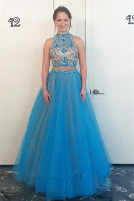 Prom Dresses,Evening Dress,2017 New Style Prom Dress Glamorous High Neck Beadings Tulle Evening Dress 2016 Two Piece Prom Dress