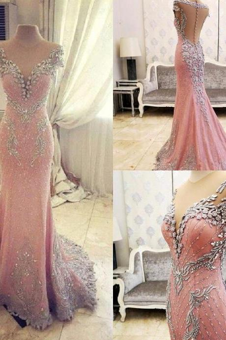 Prom Dresses,Evening Dress,New Arrival Prom Dress,Modest Prom Dress,Luxurious Crystal Pink Mermaid Evening Dress 2017 Zipper Button Back