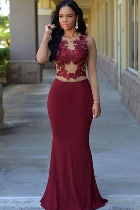Prom Dresses,Evening Dress,New Arrival Prom Dress,Modest Prom Dress,Modern Long 2017 Evening Dress Burgundy Mermaid Long With Appliques