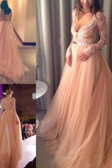 Prom Dresses,Evening Dress,Prom Dresses,Sexy 2017 V-Neck Beautiful Tulle Long-Sleeve Lace Long Evening Dress